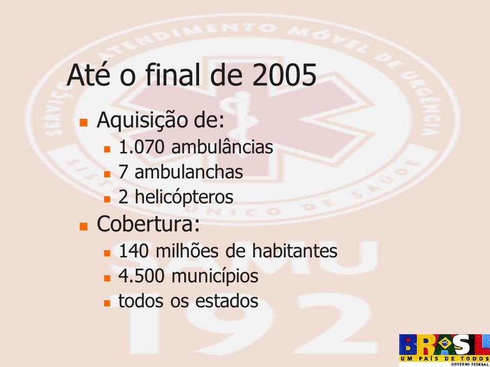 Até o final de 2005 Aquisição de: 1.070 ambulâncias 7 ambulanchas 2 helicópteros Cobertura: 140 milhões de habitantes 4.500 municípios todos os estado