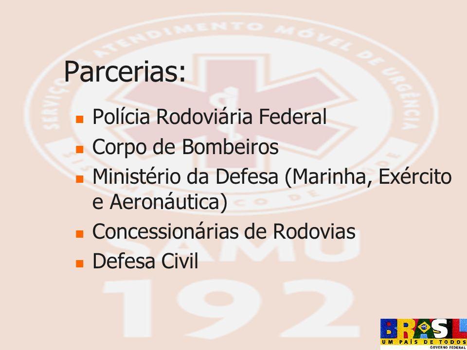 Parcerias: Polícia Rodoviária Federal Corpo de Bombeiros Ministério da Defesa (Marinha, Exército e Aeronáutica) Concessionárias de Rodovias Defesa Civ