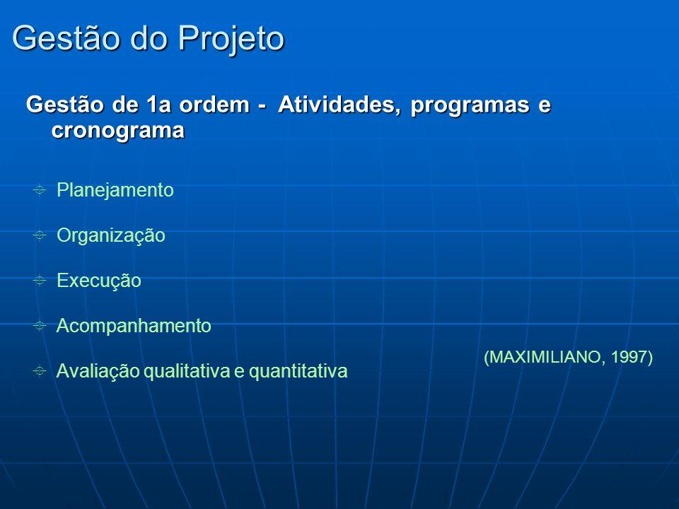 Gestão do Projeto Gestão de 1a ordem - Atividades, programas e cronograma Planejamento Organização Execução Acompanhamento Avaliação qualitativa e qua