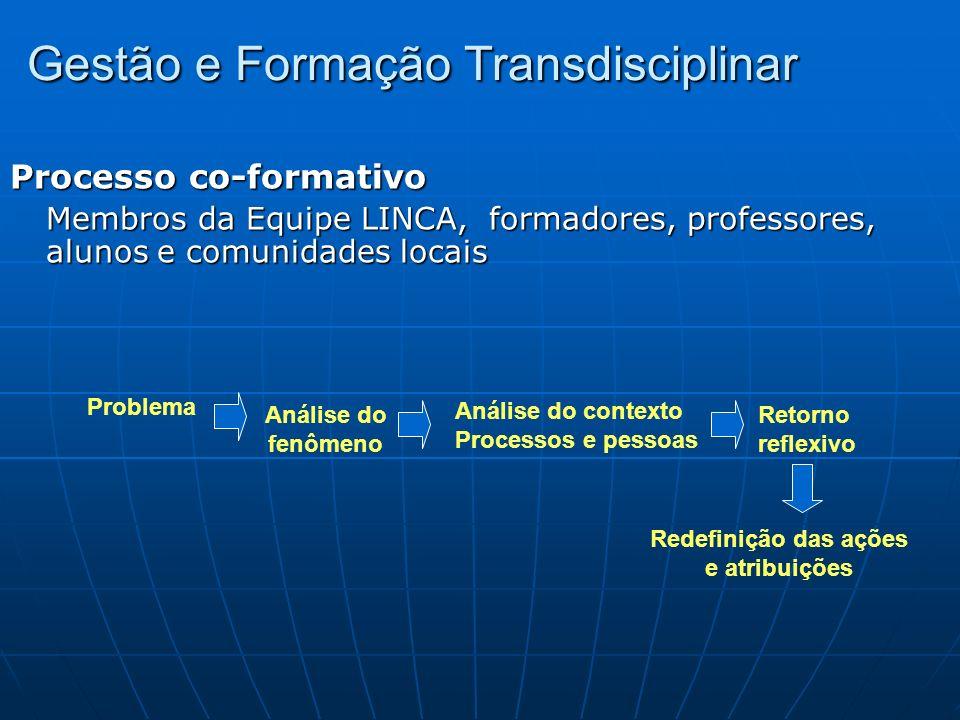 Gestão e Formação Transdisciplinar Processo co-formativo Membros da Equipe LINCA, formadores, professores, alunos e comunidades locais Problema Anális