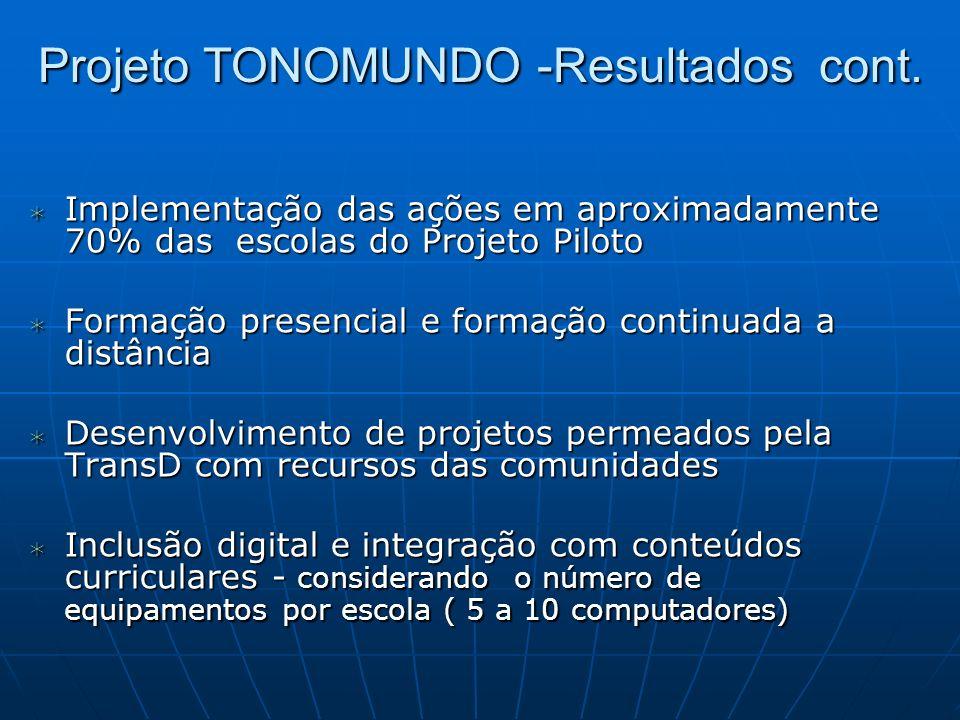 Projeto TONOMUNDO -Resultados cont. Implementação das ações em aproximadamente 70% das escolas do Projeto Piloto Implementação das ações em aproximada