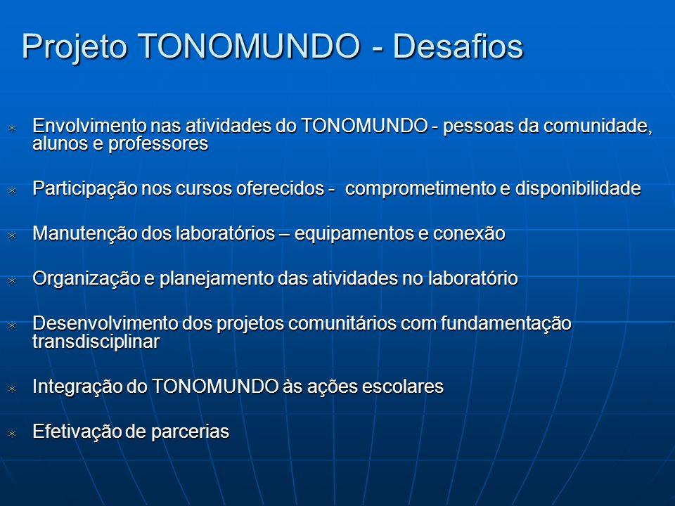 Projeto TONOMUNDO - Desafios Envolvimento nas atividades do TONOMUNDO - pessoas da comunidade, alunos e professores Envolvimento nas atividades do TON