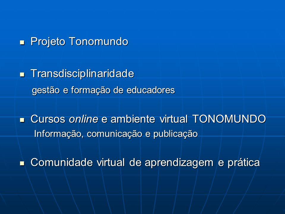 Projeto Tonomundo Projeto Tonomundo Transdisciplinaridade Transdisciplinaridade gestão e formação de educadores gestão e formação de educadores Cursos
