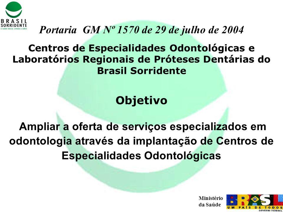 Ministério da Saúde Ampliar a oferta de serviços especializados em odontologia através da implantação de Centros de Especialidades Odontológicas Objet