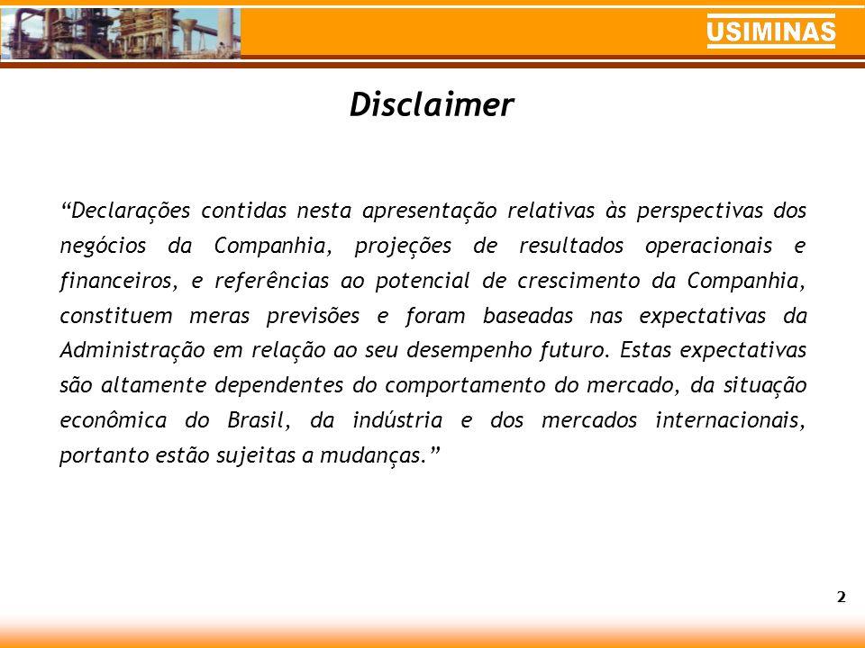 Desempenho Acionário em 2004 Valorização de Usiminas PNA (USIM5): 65,3% contra 17,8% do Ibovespa.