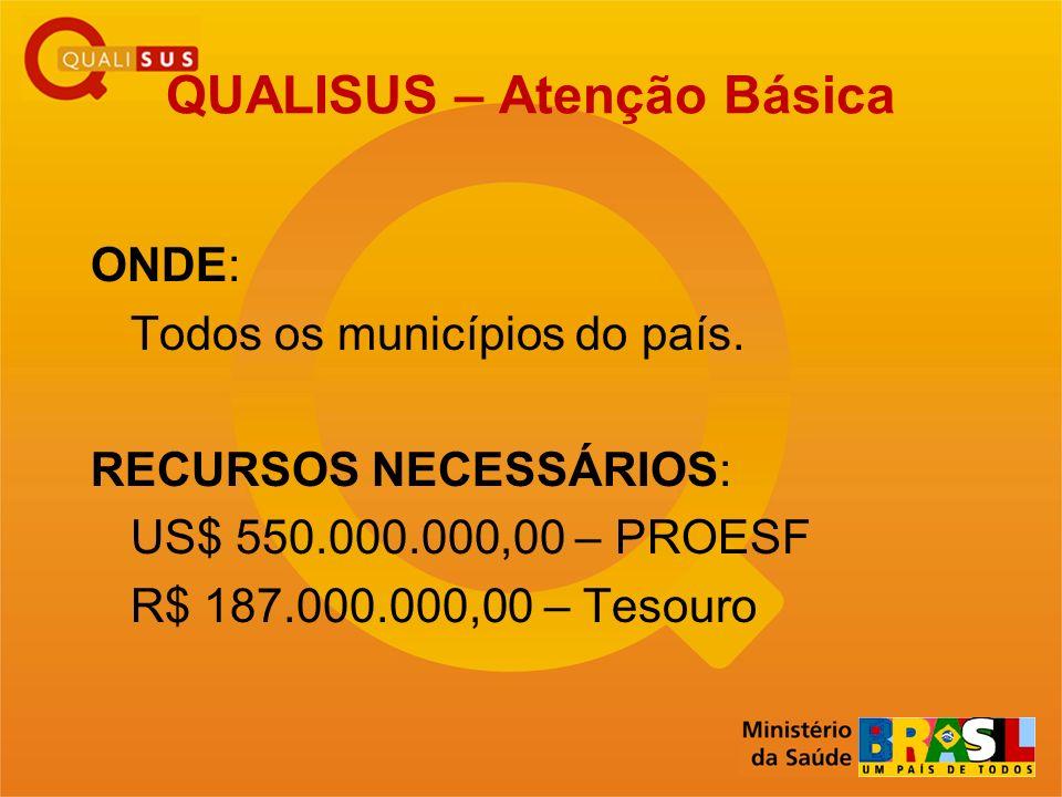 QUALISUS – Atenção Básica ONDE: Todos os municípios do país. RECURSOS NECESSÁRIOS: US$ 550.000.000,00 – PROESF R$ 187.000.000,00 – Tesouro