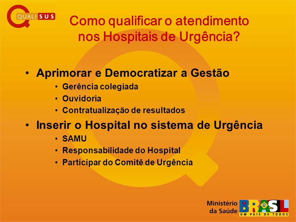 Como qualificar o atendimento nos Hospitais de Urgência? Aprimorar e Democratizar a Gestão Gerência colegiada Ouvidoria Contratualização de resultados