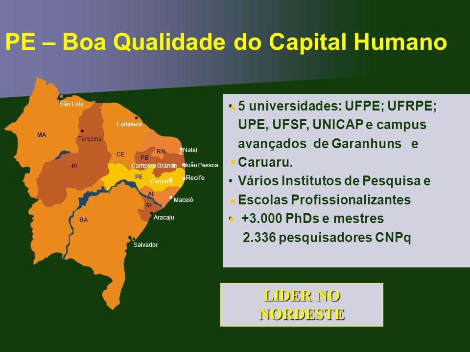PE – Boa Qualidade do Capital Humano 5 universidades: UFPE; UFRPE; UPE, UFSF, UNICAP e campus avançados de Garanhuns e Caruaru. Vários Institutos de P