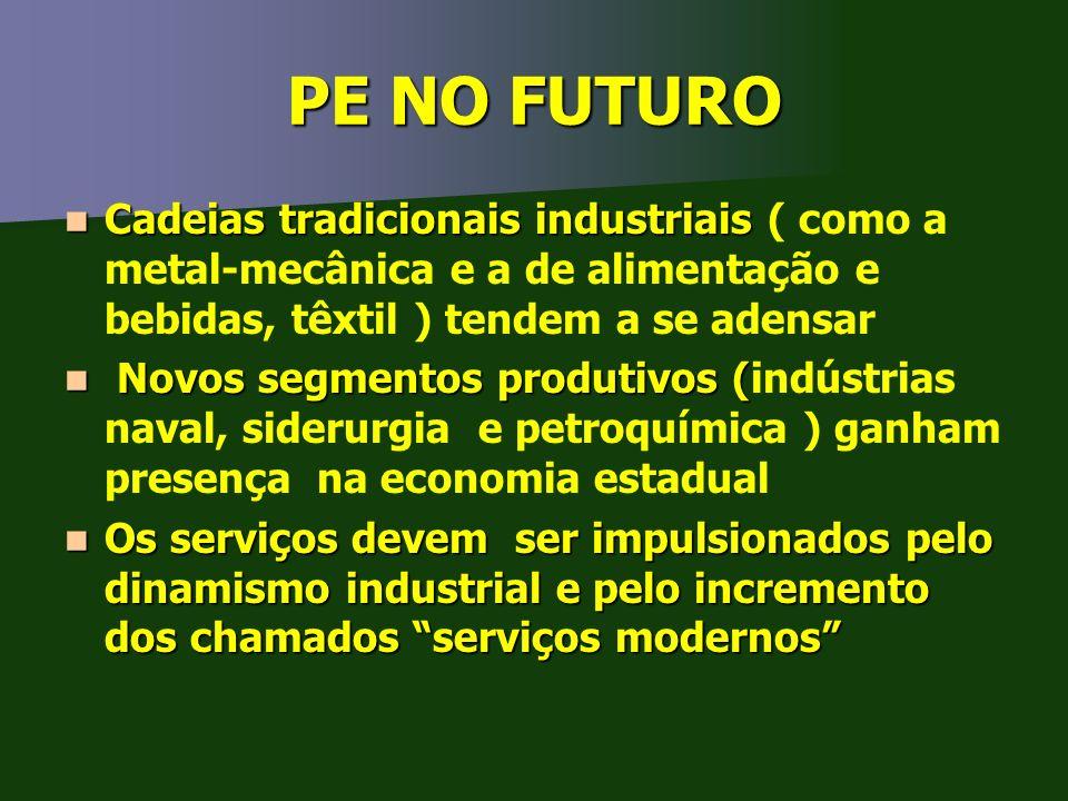 PE NO FUTURO Cadeias tradicionais industriais Cadeias tradicionais industriais ( como a metal-mecânica e a de alimentação e bebidas, têxtil ) tendem a
