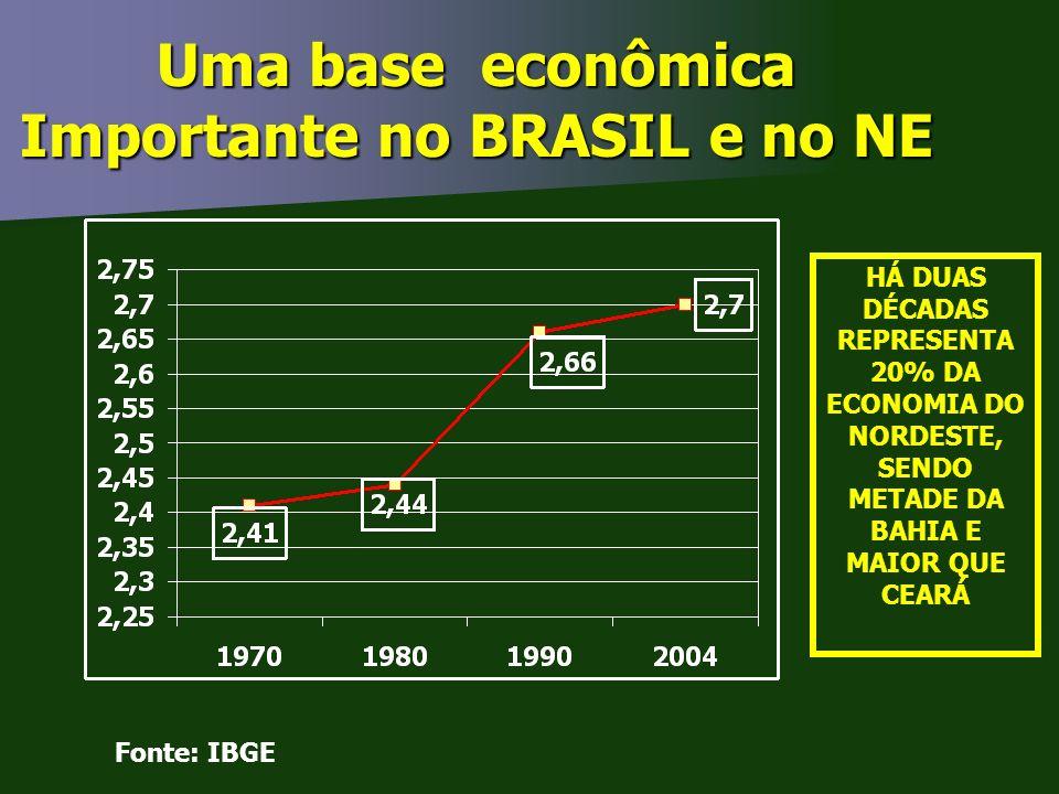 Uma base econômica Importante no BRASIL e no NE Fonte: IBGE HÁ DUAS DÉCADAS REPRESENTA 20% DA ECONOMIA DO NORDESTE, SENDO METADE DA BAHIA E MAIOR QUE