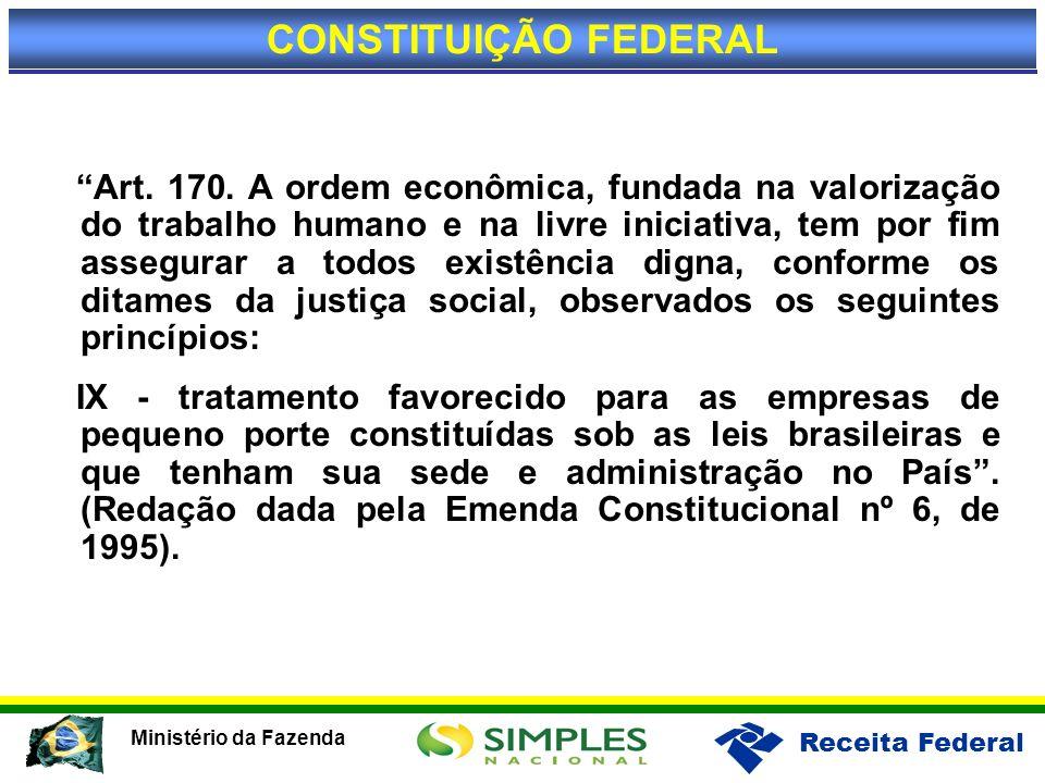 Receita Federal Ministério da Fazenda Art. 170. A ordem econômica, fundada na valorização do trabalho humano e na livre iniciativa, tem por fim assegu