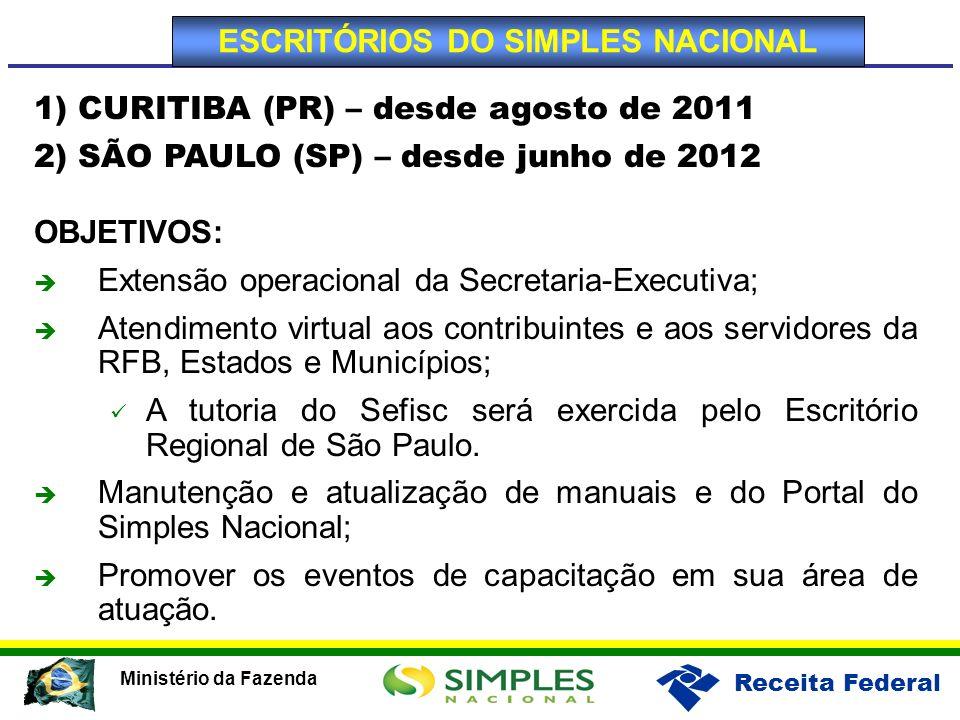 Receita Federal Ministério da Fazenda 1) CURITIBA (PR) – desde agosto de 2011 2) SÃO PAULO (SP) – desde junho de 2012 OBJETIVOS: Extensão operacional