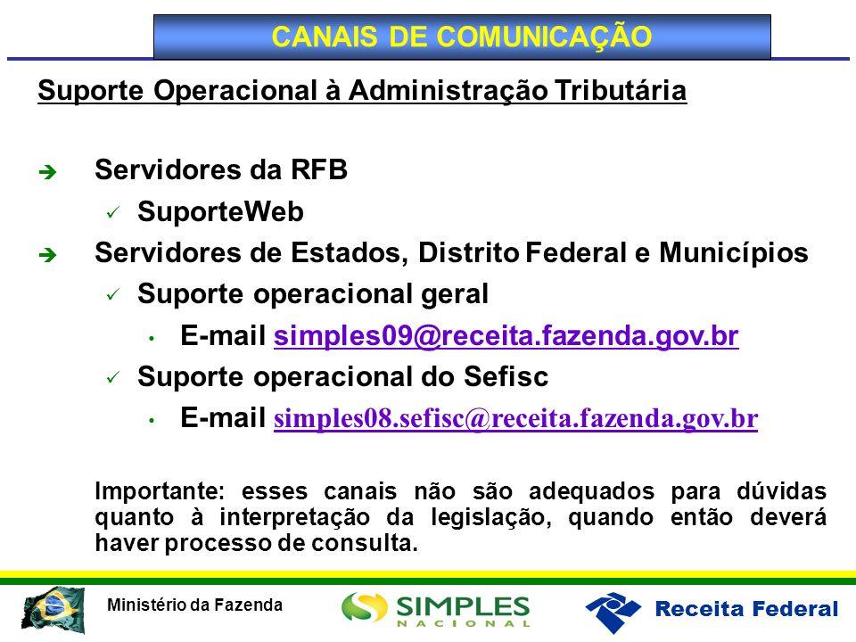Receita Federal Ministério da Fazenda Suporte Operacional à Administração Tributária Servidores da RFB SuporteWeb Servidores de Estados, Distrito Fede