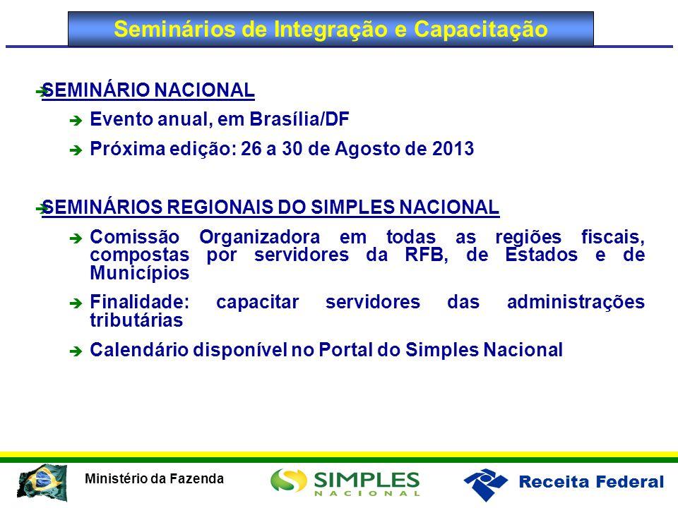 Receita Federal Ministério da Fazenda Seminários de Integração e Capacitação SEMINÁRIO NACIONAL Evento anual, em Brasília/DF Próxima edição: 26 a 30 d
