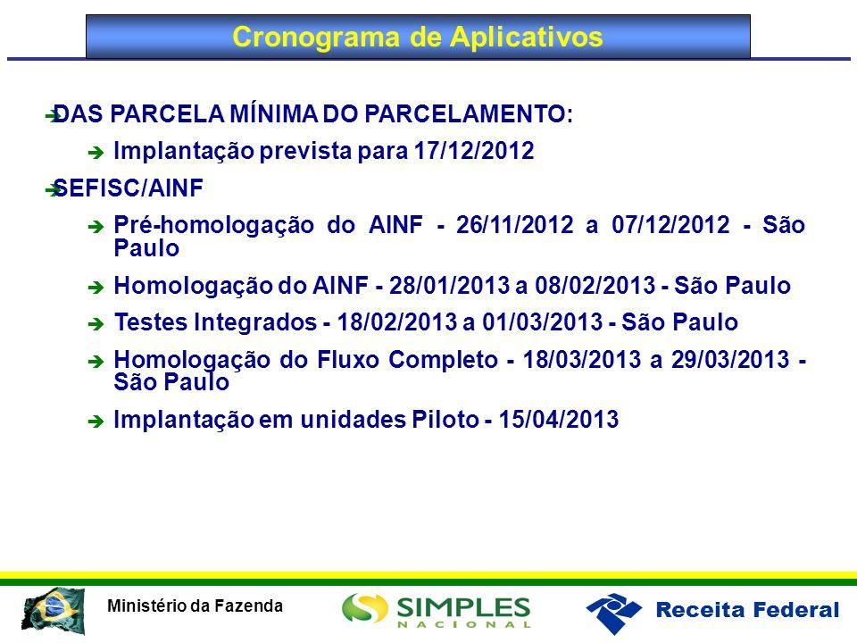 Receita Federal Ministério da Fazenda Cronograma de Aplicativos DAS PARCELA MÍNIMA DO PARCELAMENTO: Implantação prevista para 17/12/2012 SEFISC/AINF P