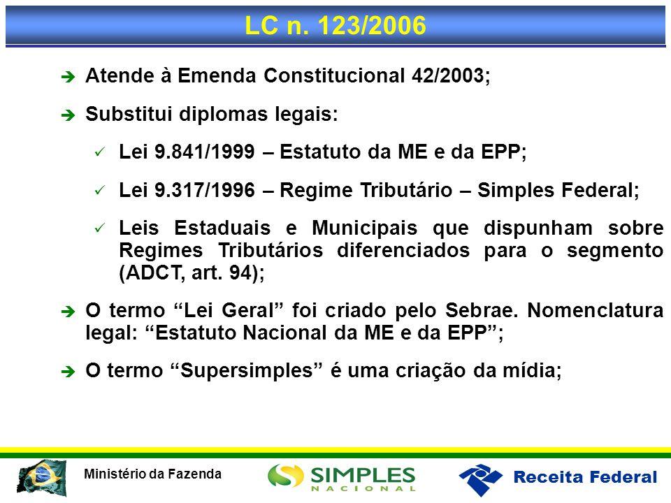 Receita Federal Ministério da Fazenda Atende à Emenda Constitucional 42/2003; Substitui diplomas legais: Lei 9.841/1999 – Estatuto da ME e da EPP; Lei
