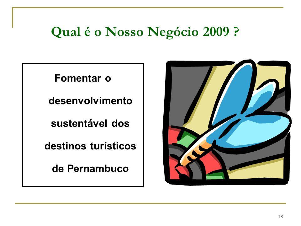 18 Qual é o Nosso Negócio 2009 ? Fomentar o desenvolvimento sustentável dos destinos turísticos de Pernambuco