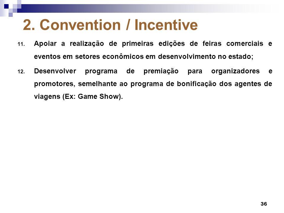 2. Convention / Incentive 11. Apoiar a realização de primeiras edições de feiras comerciais e eventos em setores econômicos em desenvolvimento no esta
