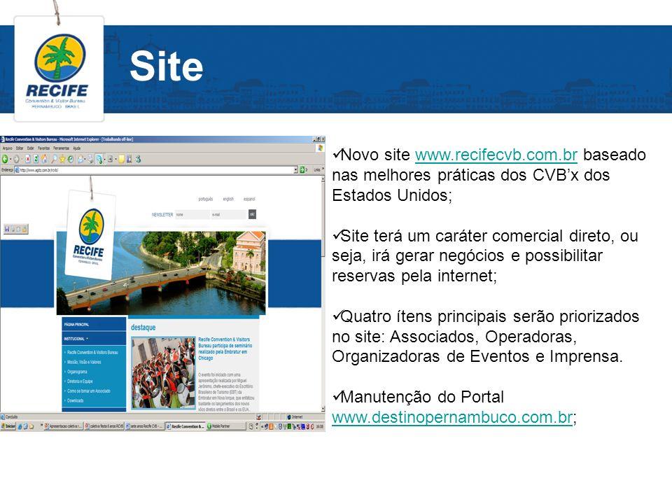Site Novo site www.recifecvb.com.br baseado nas melhores práticas dos CVBx dos Estados Unidos;www.recifecvb.com.br Site terá um caráter comercial dire
