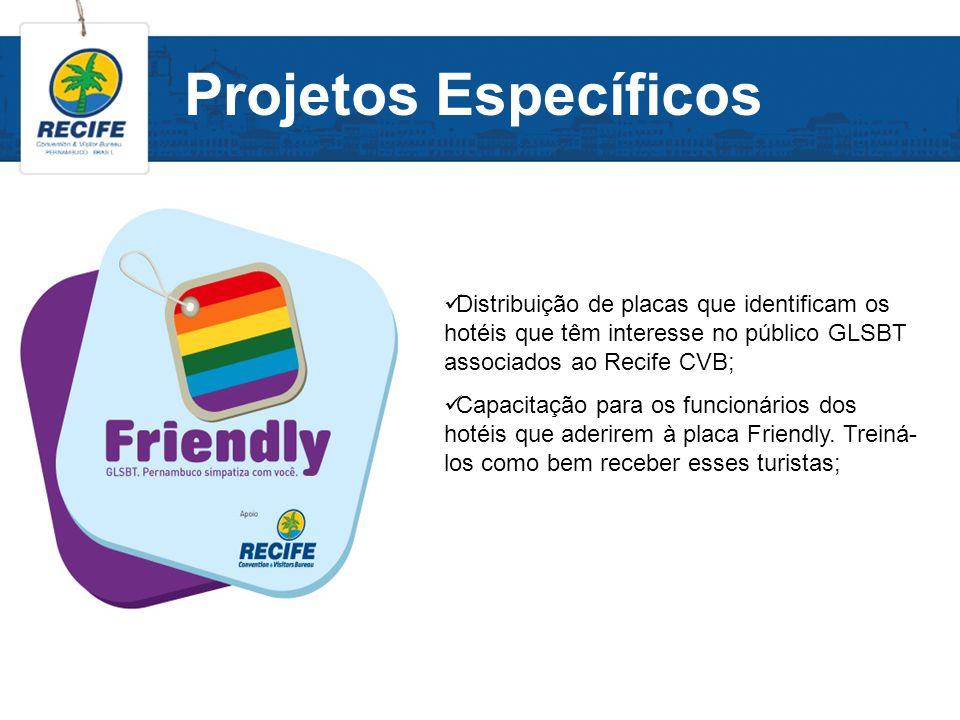 Projetos Específicos Distribuição de placas que identificam os hotéis que têm interesse no público GLSBT associados ao Recife CVB; Capacitação para os