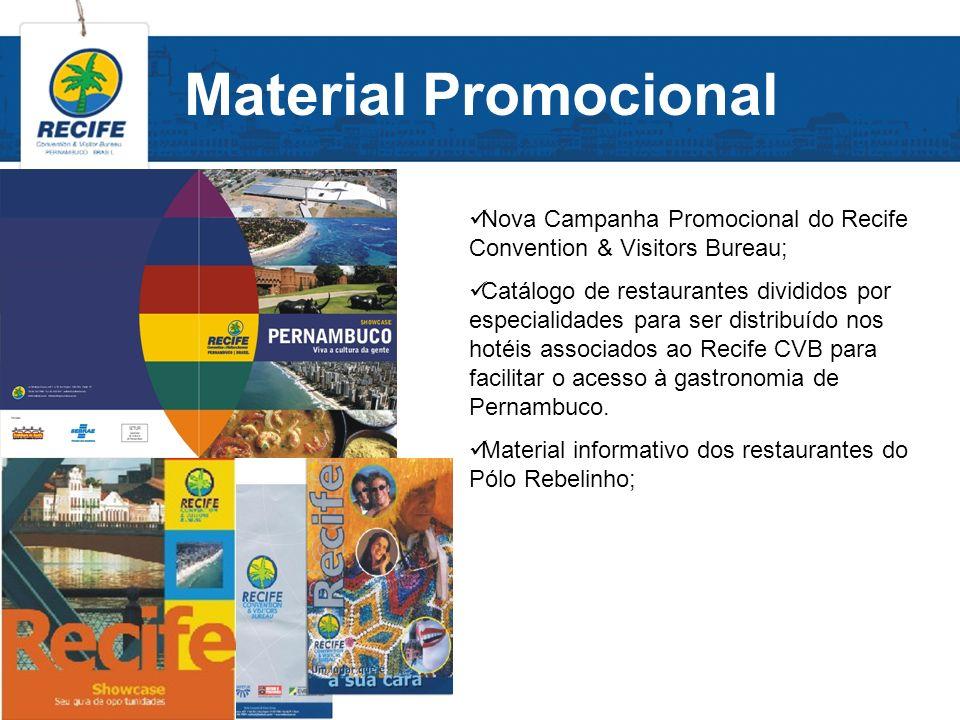 Material Promocional Nova Campanha Promocional do Recife Convention & Visitors Bureau; Catálogo de restaurantes divididos por especialidades para ser