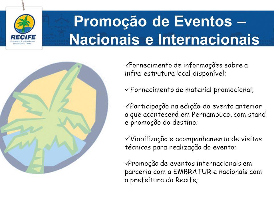Promoção de Eventos – Nacionais e Internacionais Fornecimento de informações sobre a infra-estrutura local disponível; Fornecimento de material promoc