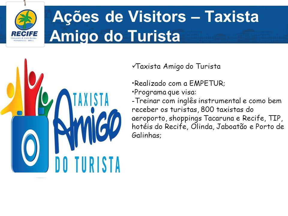 Ações de Visitors – Taxista Amigo do Turista Taxista Amigo do Turista Realizado com a EMPETUR; Programa que visa: -Treinar com inglês instrumental e c