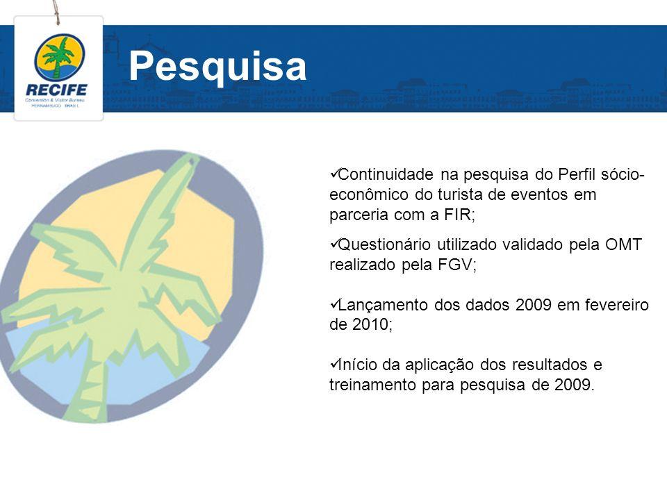 Pesquisa Continuidade na pesquisa do Perfil sócio- econômico do turista de eventos em parceria com a FIR; Questionário utilizado validado pela OMT rea