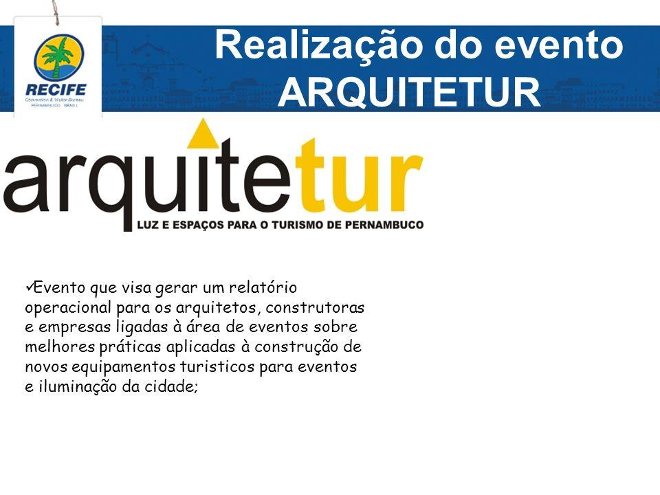 Realização do evento ARQUITETUR Evento que visa gerar um relatório operacional para os arquitetos, construtoras e empresas ligadas à área de eventos s