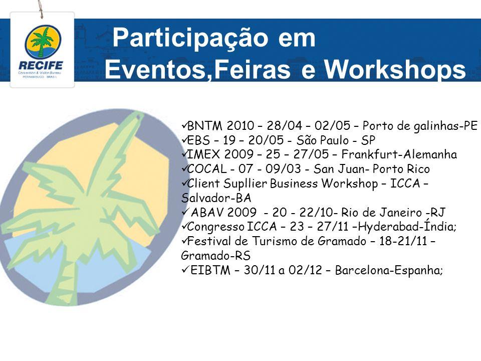 Participação em Eventos,Feiras e Workshops BNTM 2010 – 28/04 – 02/05 – Porto de galinhas-PE EBS – 19 – 20/05 - São Paulo - SP IMEX 2009 – 25 – 27/05 –