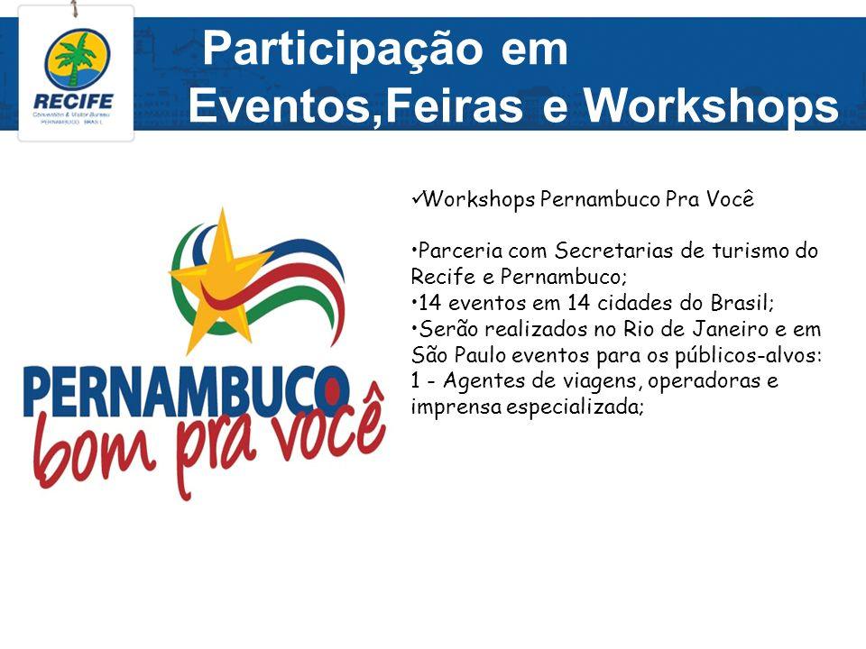 Participação em Eventos,Feiras e Workshops Workshops Pernambuco Pra Você Parceria com Secretarias de turismo do Recife e Pernambuco; 14 eventos em 14
