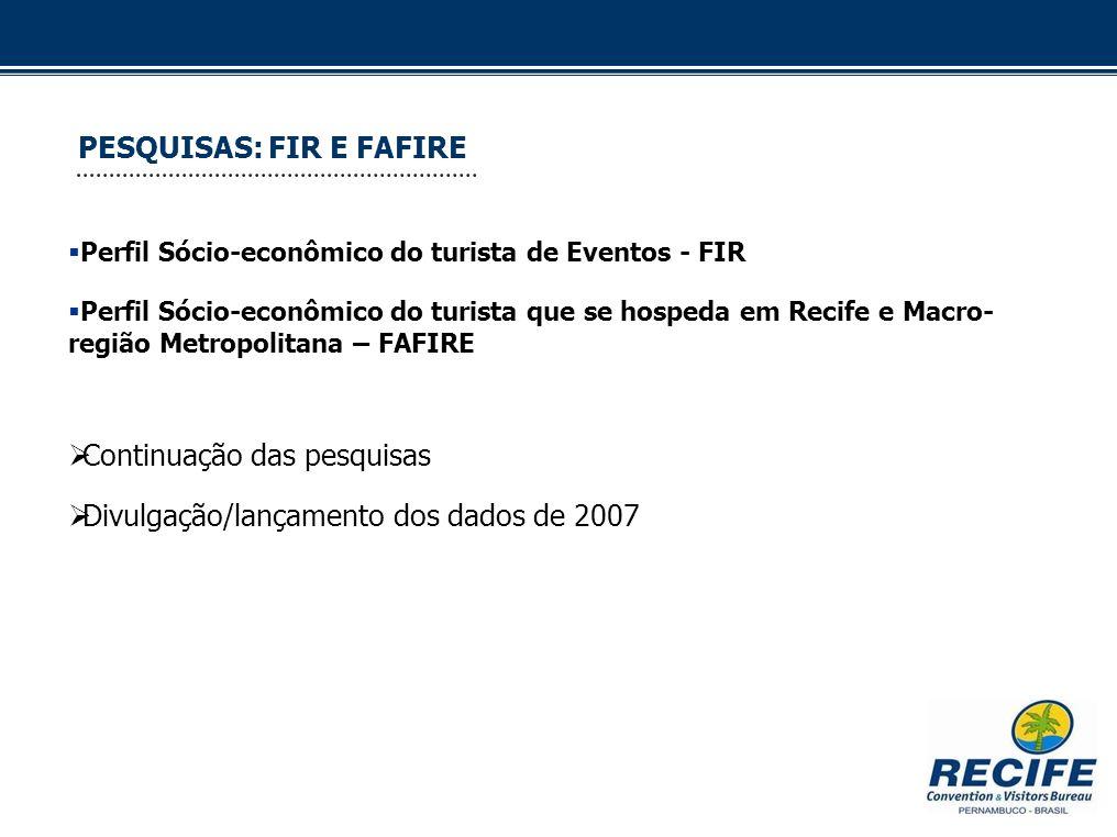 PESQUISAS: FIR E FAFIRE Perfil Sócio-econômico do turista de Eventos - FIR Perfil Sócio-econômico do turista que se hospeda em Recife e Macro- região