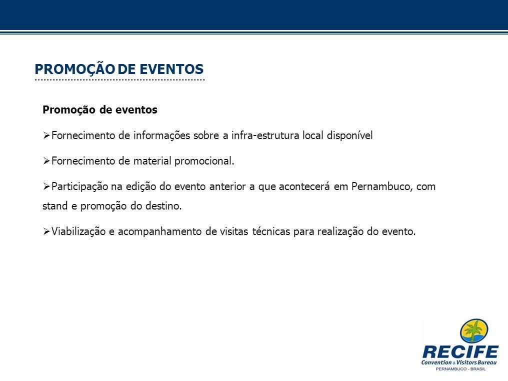 PROMOÇÃO DE EVENTOS Promoção de eventos Fornecimento de informações sobre a infra-estrutura local disponível Fornecimento de material promocional. Par