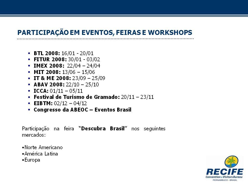 PARTICIPAÇÃO EM EVENTOS, FEIRAS E WORKSHOPS