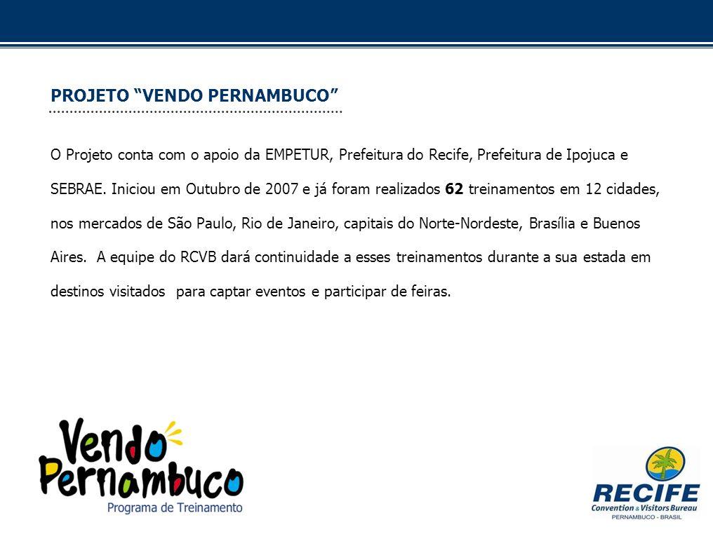 PROJETO VENDO PERNAMBUCO O Projeto conta com o apoio da EMPETUR, Prefeitura do Recife, Prefeitura de Ipojuca e SEBRAE. Iniciou em Outubro de 2007 e já