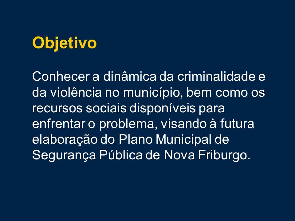 Objetivo Conhecer a dinâmica da criminalidade e da violência no município, bem como os recursos sociais disponíveis para enfrentar o problema, visando à futura elaboração do Plano Municipal de Segurança Pública de Nova Friburgo.