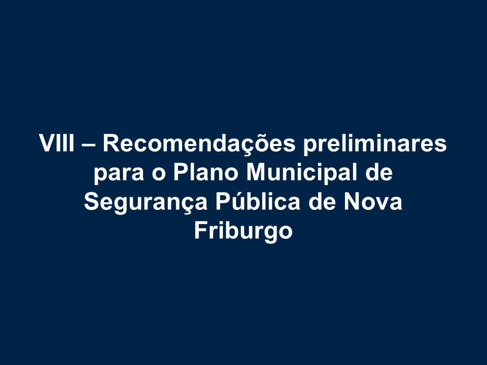 VIII – Recomendações preliminares para o Plano Municipal de Segurança Pública de Nova Friburgo