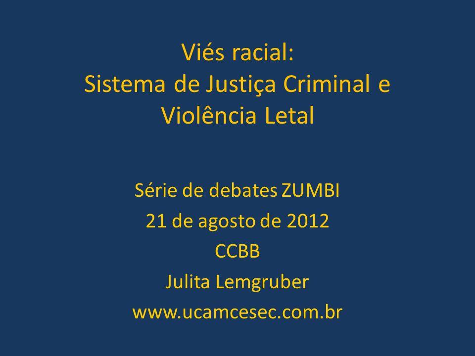 Viés racial: Sistema de Justiça Criminal e Violência Letal Série de debates ZUMBI 21 de agosto de 2012 CCBB Julita Lemgruber www.ucamcesec.com.br