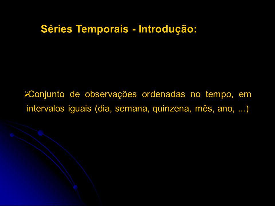 Séries Temporais - Introdução: Conjunto de observações ordenadas no tempo, em intervalos iguais (dia, semana, quinzena, mês, ano,...)