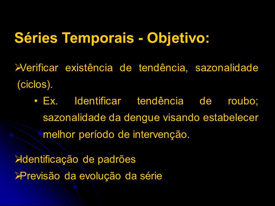 Verificar existência de tendência, sazonalidade (ciclos). Ex. Identificar tendência de roubo; sazonalidade da dengue visando estabelecer melhor períod