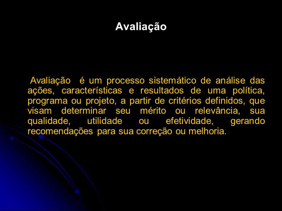 Avaliação Avaliação é um processo sistemático de análise das ações, características e resultados de uma política, programa ou projeto, a partir de cri