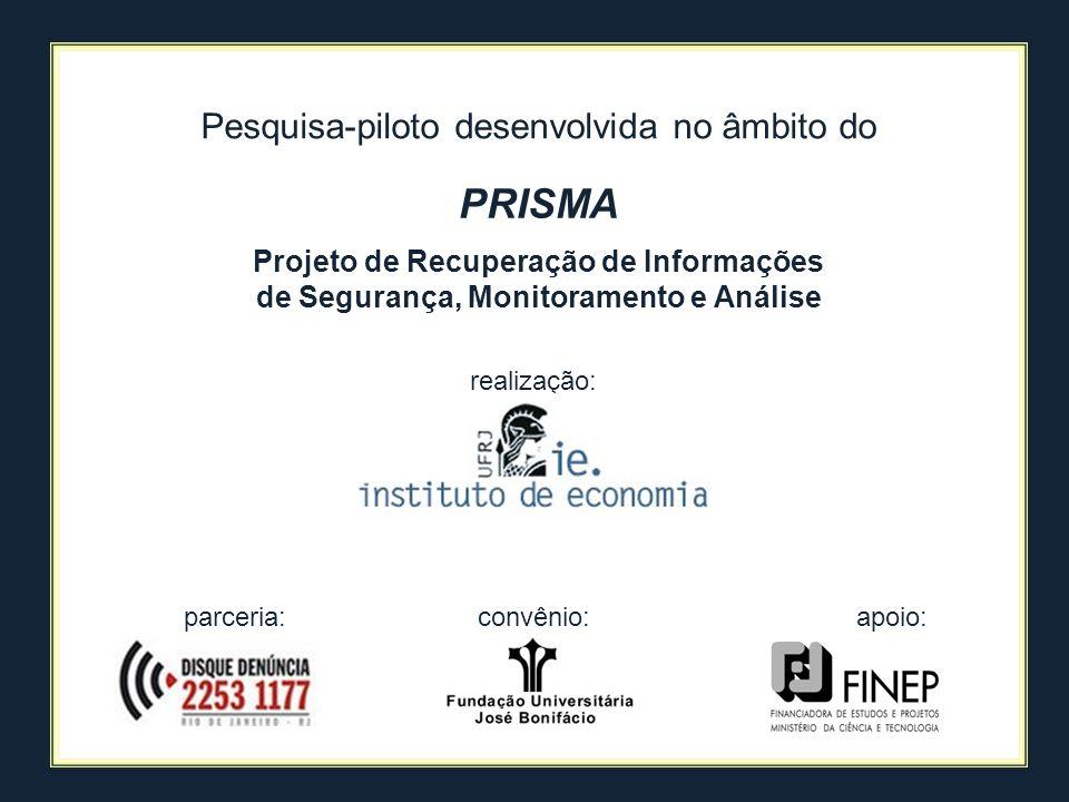apoio: realização: parceria: PRISMA Projeto de Recuperação de Informações de Segurança, Monitoramento e Análise Pesquisa-piloto desenvolvida no âmbito
