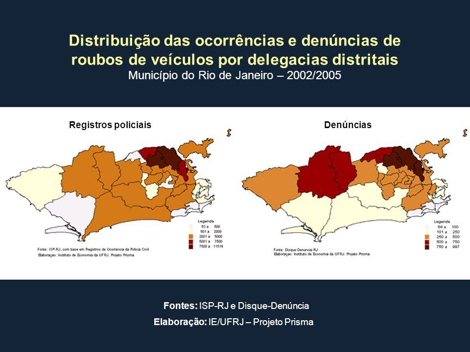 Distribuição das ocorrências e denúncias de roubos de veículos por delegacias distritais Município do Rio de Janeiro – 2002/2005 Registros policiaisDe