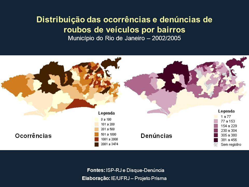 Distribuição das ocorrências e denúncias de roubos de veículos por bairros Município do Rio de Janeiro – 2002/2005 Fontes: ISP-RJ e Disque-Denúncia El