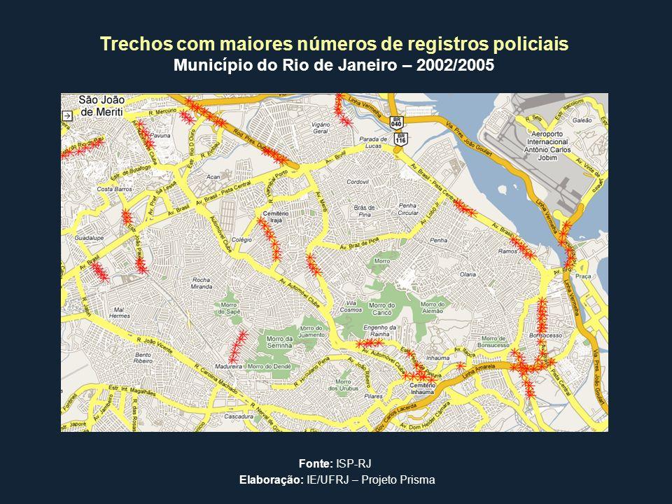 Trechos com maiores números de registros policiais Município do Rio de Janeiro – 2002/2005 Fonte: ISP-RJ Elaboração: IE/UFRJ – Projeto Prisma