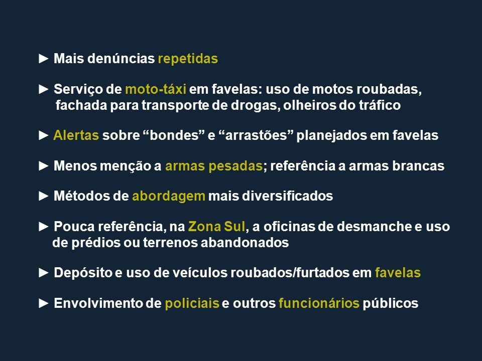 Mais denúncias repetidas Serviço de moto-táxi em favelas: uso de motos roubadas, fachada para transporte de drogas, olheiros do tráfico Alertas sobre