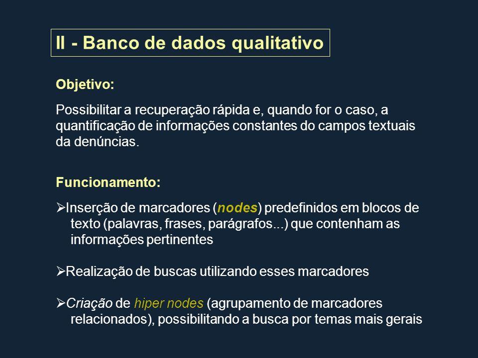 II - Banco de dados qualitativo Objetivo: Possibilitar a recuperação rápida e, quando for o caso, a quantificação de informações constantes do campos