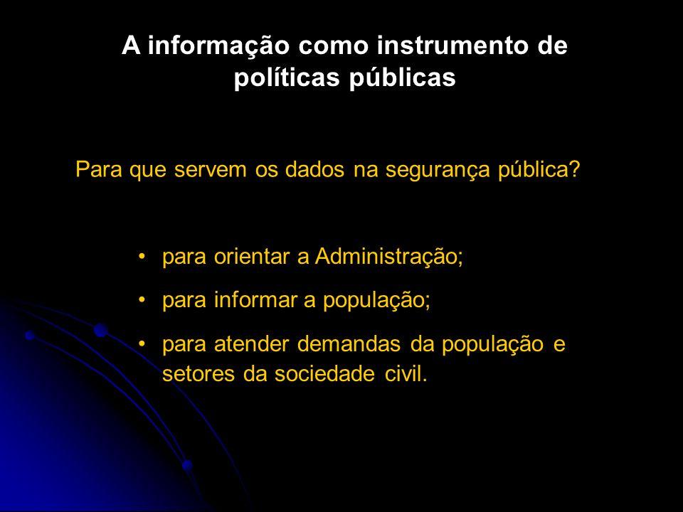 A informação como instrumento de políticas públicas Para que servem os dados na segurança pública.