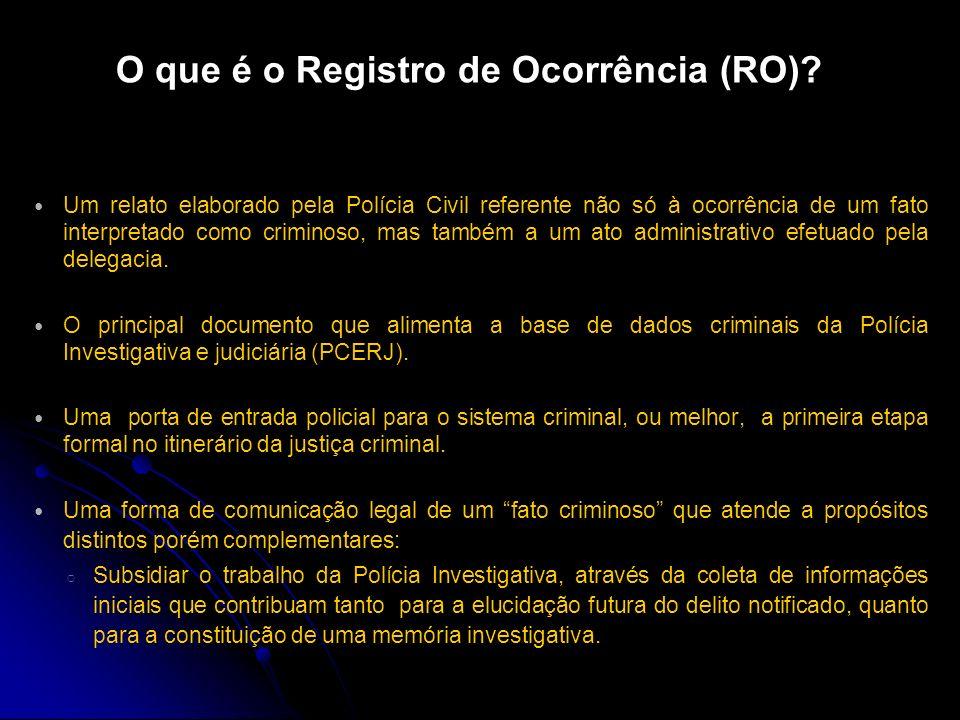 Fontes de Dados Registros da Polícia Civil do Estado do Rio de Janeiro