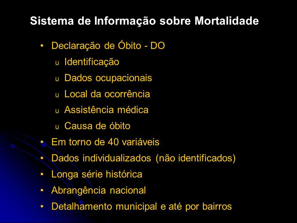 O documento-padrão para captação de dados sobre mortalidade, em todo o país, é a Declaração de Óbito (DO), que é o resultado da padronização, efetuada